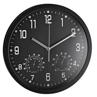 Stenska ura s termo- in higrometrom,črna
