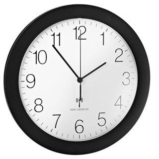 Stenska ura, radijsko vodena, črn okvir