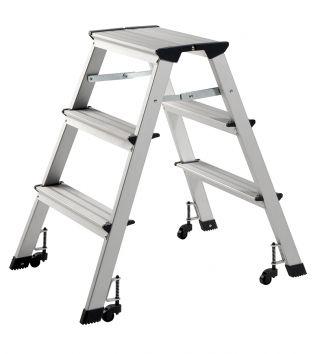 Aluminijasta lestev s kolesi, 3 stopnice