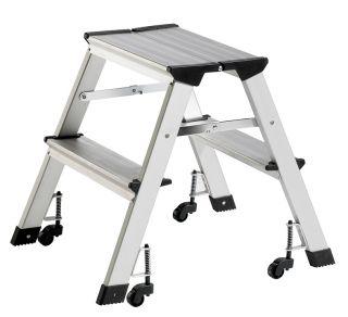 Aluminijasta lestev s kolesi, 2 stopnici