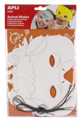 Karton maske živali 6 kos