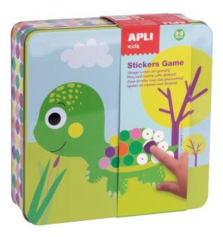 Kovinska škatla igra z nalepkami, živali