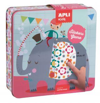 Kovinska škatla, igra z nalepkami, slon
