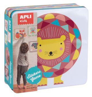 Kovinska škatla, igra z nalepkami, lev