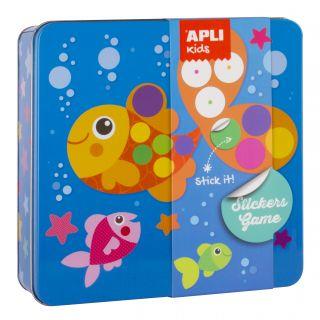 Kovinska škatla, igra z nalepkami, riba