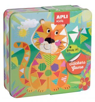 Kovinska škatla, igra z nalepkami, tiger