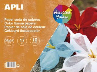 Svilen papir 32x24 10 kos različne barve