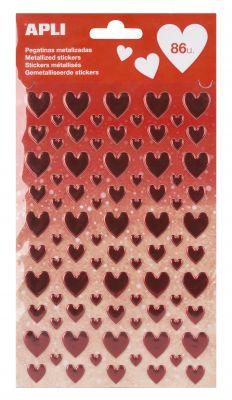 Nalepke metallic rdeča srca 1 set