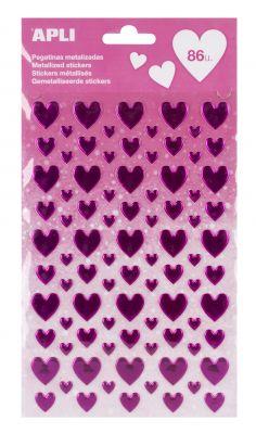 Nalepke metallic roza srca 1 set