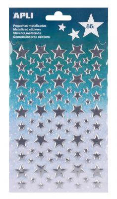 Nalepke metallic srebrne zvezde 1 set