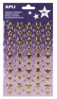 Nalepke metallic zlate zvezde 1 set