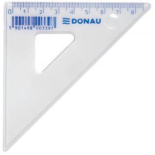 Trikotnik 45°, 8,5 cm prozoren